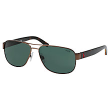 Buy Polo Ralph Lauren PH3089 Metal Aviator Polarised Sunglasses, Dark Brown Online at johnlewis.com