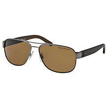 Buy Polo Ralph Lauren PH3089 Metal Aviator Polarised Sunglasses, Matte Gunmetal Online at johnlewis.com