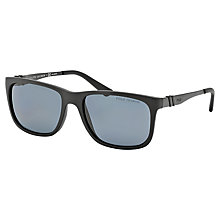 Buy Polo Ralph Lauren PH4088 Square Polarised Sunglasses, Matte Black Online at johnlewis.com