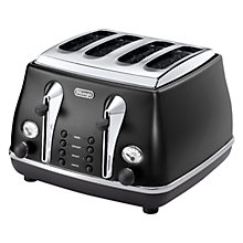 Buy De'Longhi Icona Vintage 4-Slice Toaster, Black Online at johnlewis.com