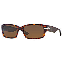 Buy Persol PO3086S Rectangular Framed Polarised Sunglasses, Havana Online at johnlewis.com
