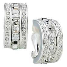 Buy Carolee Crystal Demi-Hoop Clip-On Earrings, Silver Online at johnlewis.com
