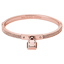 Buy Michael Kors Pave Padlock Bangle, Rose Gold Online at johnlewis.com