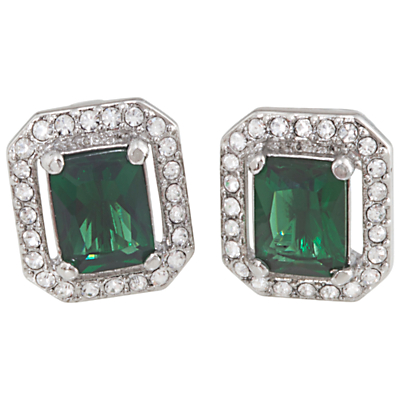 Carolee Cushion Crystal Stud Earrings Emerald Green