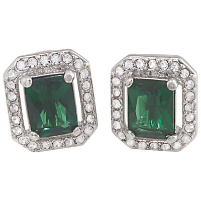Carolee Cushion Crystal Stud Earrings Emerald Green