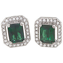 Buy Carolee Cushion Crystal Stud Earrings, Emerald Green Online at johnlewis.com