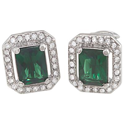 Carolee Cushion Crystal ClipOn Earrings Emerald Green