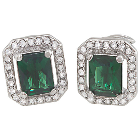 Buy Carolee Cushion Crystal Clip-On Earrings, Emerald Green Online at johnlewis.com