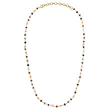 Buy Pomegranate 18ct Gold Plated Sapphire, Ruby and Emerald Rosary Necklace, Multi Online at johnlewis.com