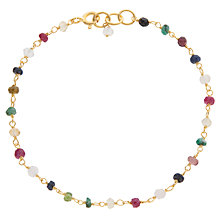 Buy Pomegranate 18ct Gold Plated Sapphire, Ruby and Emerald Rosary Bracelet, Multi Online at johnlewis.com