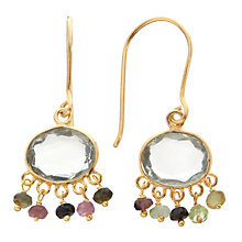 Buy Pomegranate 18ct Gold Plated Amethyst and Tourmaline Beaded Drop Earrings, Multi Online at johnlewis.com