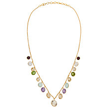 Buy Pomegranate 18ct Gold Plated Hanging Multi-Stone Necklace, Multi Online at johnlewis.com