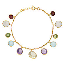 Buy Pomegranate 18ct Gold Plated Hanging Multi-Stone Bracelet, Multi Online at johnlewis.com