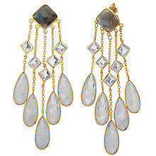 Buy Pomegranate 18ct Gold Plated Labradorite, Crystal and Moonstone Large Chandelier Drop Earrings, Grey Online at johnlewis.com