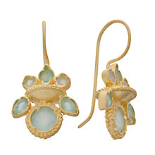 Buy Pomegranate 18ct Gold Plated Chalcedony Pretty Indian Drop Earrings, Aqua Online at johnlewis.com