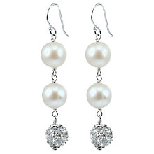 Buy Lido Double Pearl and Cubic Zirconia Drop Earrings, White Online at johnlewis.com