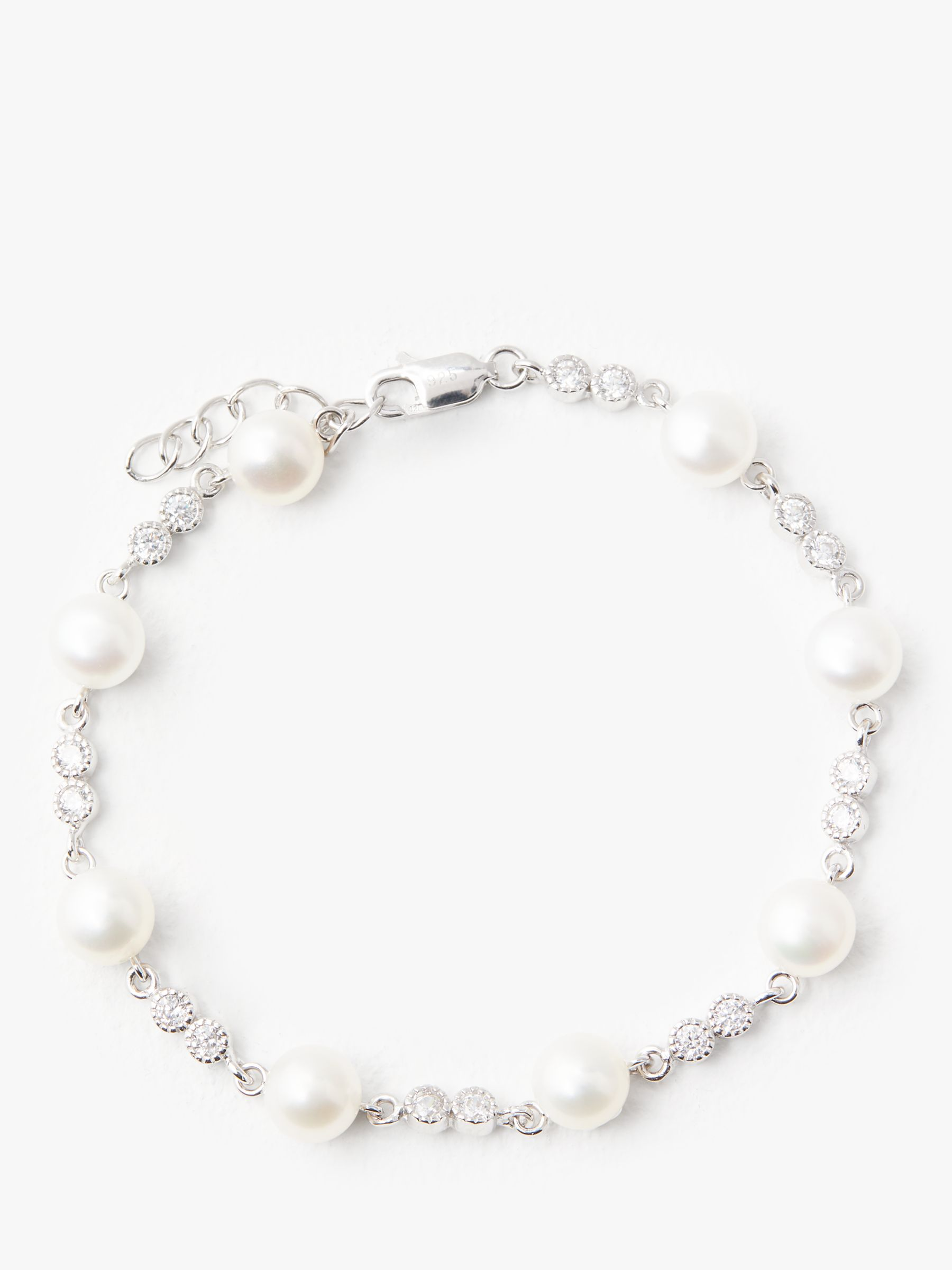Lido Pearls Lido Pearls Circle Cubic Zirconia and Pearl Bracelet, White