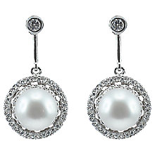 Buy Lido Circle Pave and Pearl Stud Drop Earrings, White Online at johnlewis.com