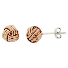 Buy Nina B Sterling Silver Knot Stud Earrings, Rose Gold Online at johnlewis.com