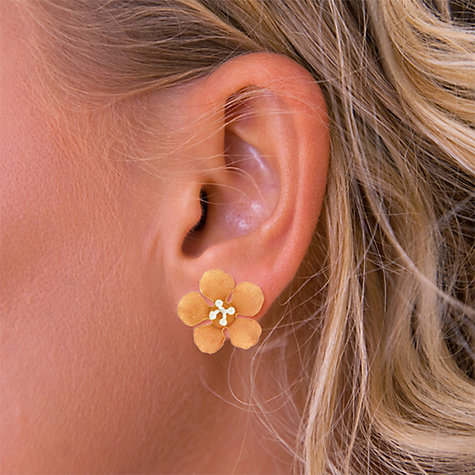 Buy Nina B Sterling Silver and Red Gold Plated Flower Stud Earrings, Silver / Red Gold Online at johnlewis.com