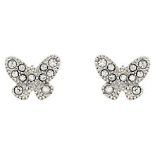Buy Cachet Papillon Swarovski Crystal Rhodium Plated Stud Earrings, Silver Online at johnlewis.com