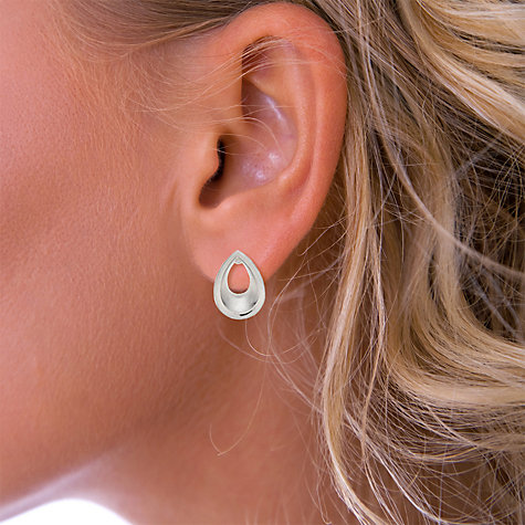 Buy Nina B Sterling Silver Teardrop Stud Earrings, Silver Online at johnlewis.com