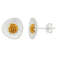 Buy Nina B Sterling Silver Rounded Triangular Stud Earrings, Silver / Gold Online at johnlewis.com