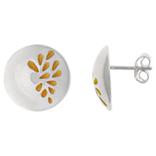 Buy Nina B Sterling Silver Bubble and Gold Leaves Stud Earrings, Silver / Gold Online at johnlewis.com
