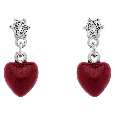 Buy Cachet London Rhodium Plated Swarovski Crystal Enamel Heart Drop Earrings, Silver Online at johnlewis.com