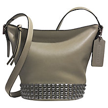 Buy Coach Bleecker Mini Studded Duffle Crossbody Leather Bag, Olive Grey Online at johnlewis.com