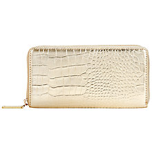 Buy COLLECTION by John Lewis Hayley Croc Snake Zip Around Leather Purse, Gold Online at johnlewis.com