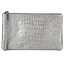 Buy COLLECTION by John Lewis Hayley Leather Croc Pouch, Silver Online at johnlewis.com