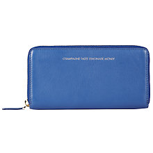 Buy COLLECTION by John Lewis Hayley 'Champagne Taste Lemonade Money' Slogan Leather Purse, Blue Online at johnlewis.com
