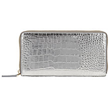 Buy COLLECTION by John Lewis Hayly Leather Croc Zip Arround, Silver Online at johnlewis.com