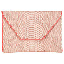 Buy Coast Snake Envelope Clutch Bag, Pink Online at johnlewis.com