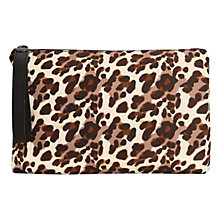 Buy Mango Leopard Print Clutch Bag, Dark Brown Online at johnlewis.com