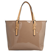 Buy Mango Patent Shopper Bag, Light Pastel Brown Online at johnlewis.com