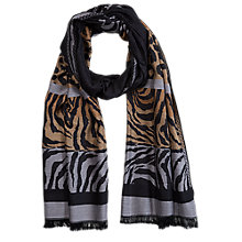 Buy Betty Barclay Animal Print Panelled Scarf, Grey/Camel Online at johnlewis.com