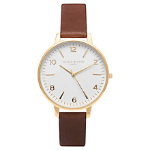 Buy Olivia Burton OB14WF03 Women's White Dial Midi Leather Strap Watch, Brown / Gold Online at johnlewis.com