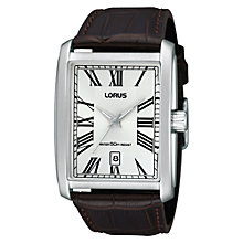 Buy Lorus RS997AX9 Men's Dress Crocodile Leather Strap Shaped Case Watch, Brown Online at johnlewis.com