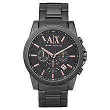 Buy Armani Exchange AX2086 Men's Ion-Coated Steel Banks, Grey Online at johnlewis.com