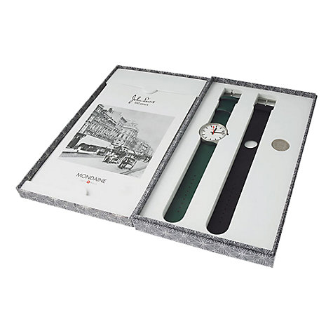 Buy Mondaine A658.30306.Jl.SET Unisex Leather Strap Watch, Green / Black Online at johnlewis.com