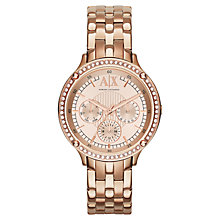 Buy Armani Exchange AX5406 Women's Chronograph Crystal Bracelet Strap Watch, Rose Gold Online at johnlewis.com