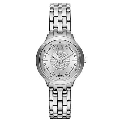 Armani Exchange AX5415 Women's Crystal Bracelet Strap Watch, Silver