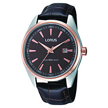 Buy Lorus RH904DX9 Men's Dress Crocodile Leather Strap Watch, Black Online at johnlewis.com
