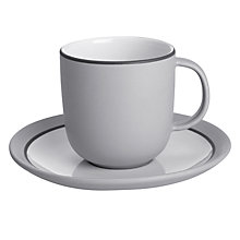 Buy John Lewis Puritan Cup and Saucer Set, Light Grey Online at johnlewis.com
