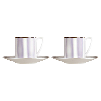 Jasper Conran for Wedgwood Pinstripe Espresso Cups and Saucers, Set of 2