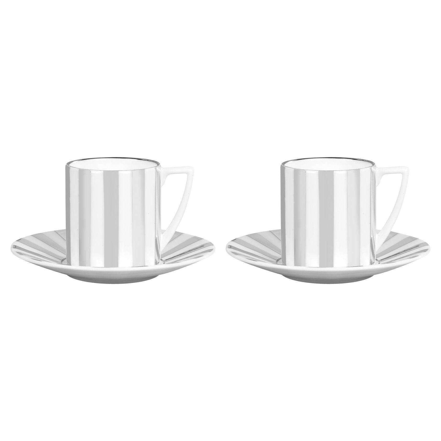 Jasper Conran Jasper Conran for Wedgwood Platinum Espresso Cups and Saucers, Set of 2