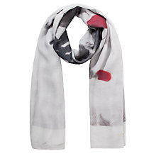 Buy Ted Baker Soldier Printed Wide Scarf, White Online at johnlewis.com