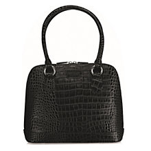 Buy OSPREY LONDON Ladybug Leather Croc Shoulder Bag, Black Online at johnlewis.com